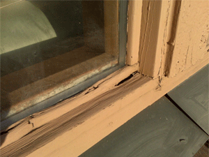 Rotten sill on wood framed window