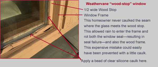 Weathervane wood stop window